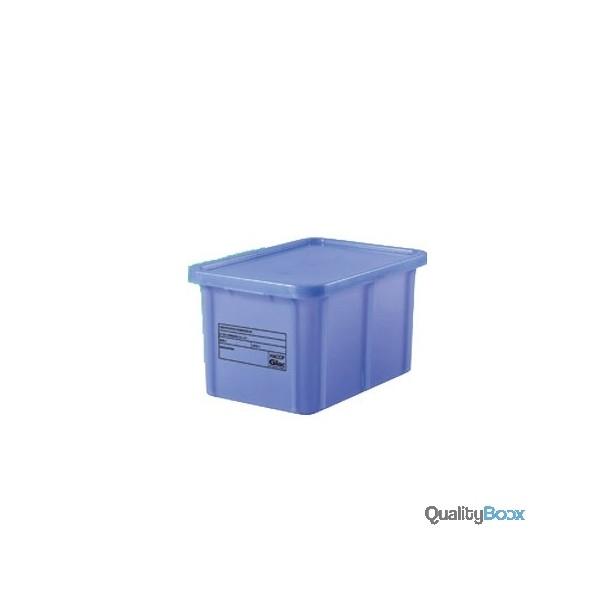 Bac blanc rectangulaire gerbable avec couvercle qualityboox for Bac plastique avec couvercle